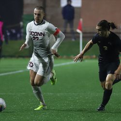 The UCF Knights take on the UConn Huskies in a men's college soccer game at Dillon Stadium in Hartford, CT on October 20, 2019.