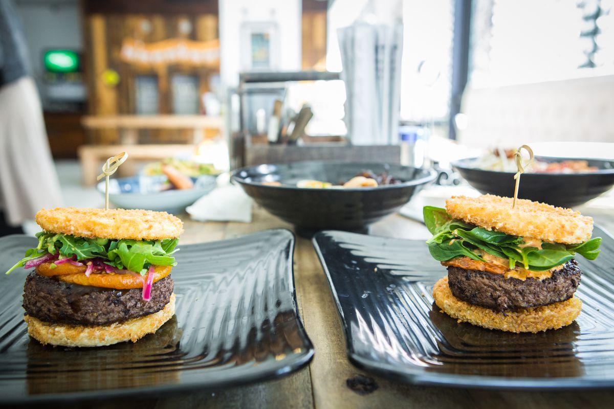 Ramen burgers at Yoshi Ramen