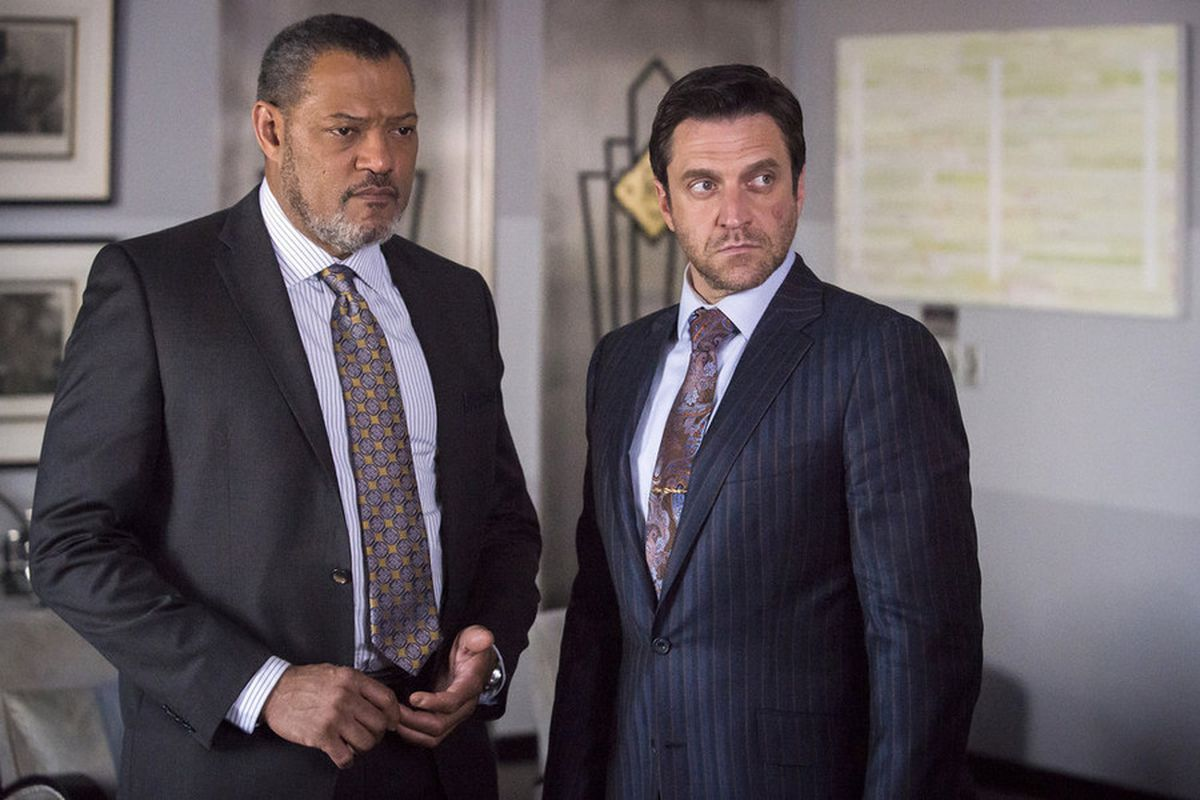 Jack (Laurence Fishburne) and Chilton (Raul Esparza) are the most dapper of crime fighters.