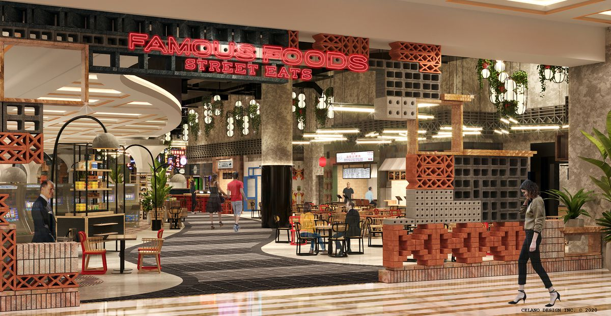 A rendering of a colorful entrance to a food hall