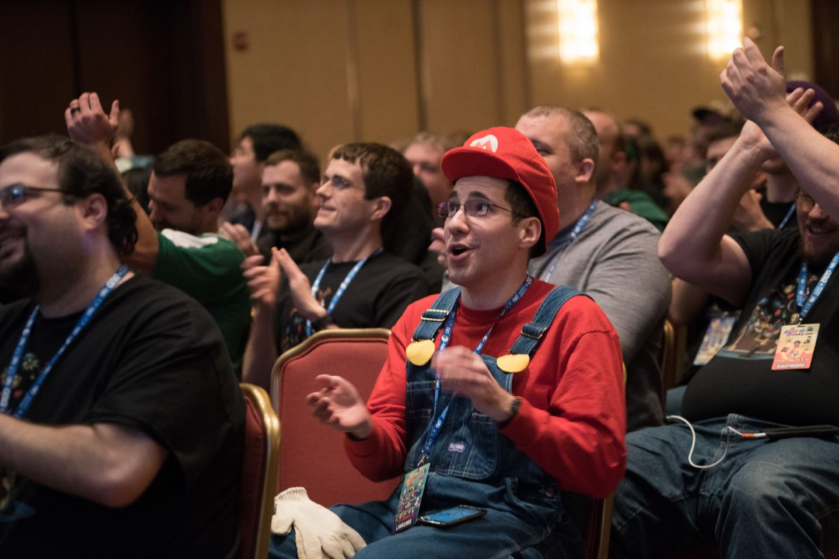 Mario cosplayer at Awesome Games Done Quick 2018