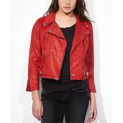 """<b>Levi's</b> Coated Moto Jacket in Red Sky, <a href=""""http://us.levi.com/product/index.jsp?productId=21451486"""">$118</a>"""