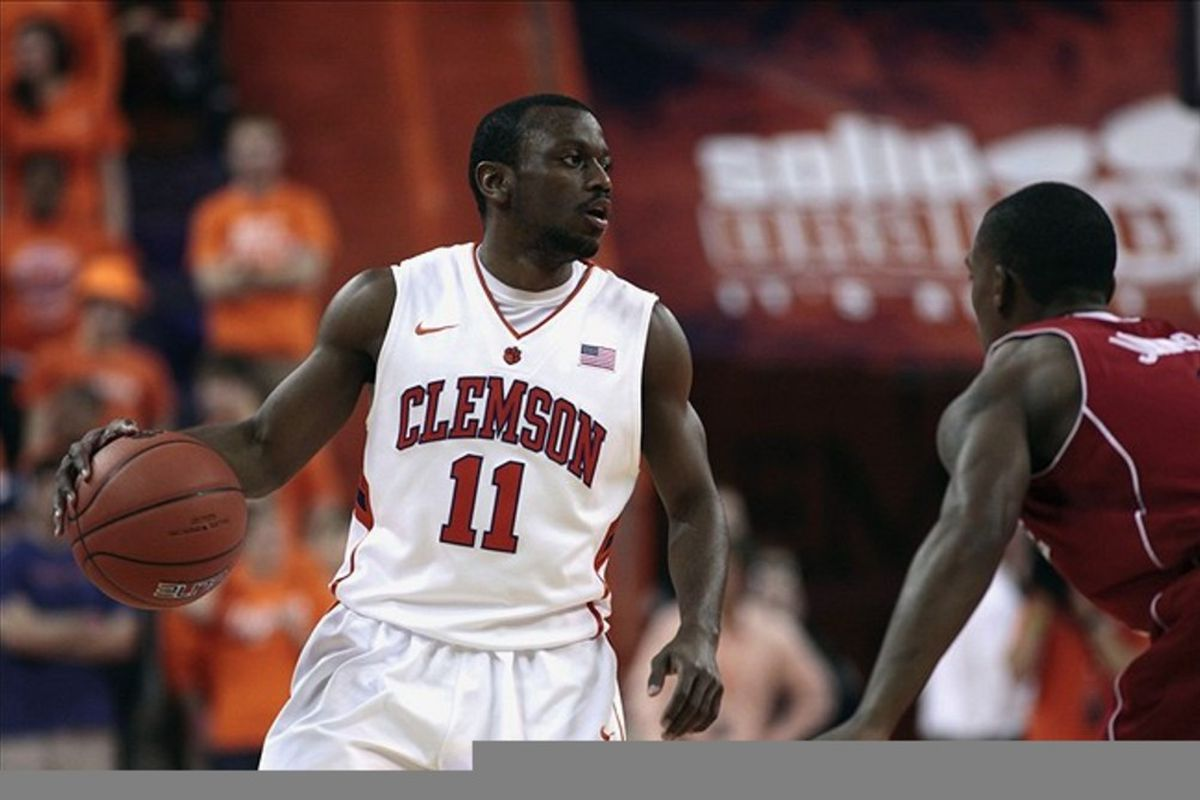 Feb 25, 2012; Clemson, SC, USA; Clemson Tigers guard Andre Young (11) looks to pass the ball during the first half against the North Carolina State Wolfpack at J.C. Littlejohn Coliseum. Mandatory Credit: Joshua S. Kelly-US PRESSWIRE