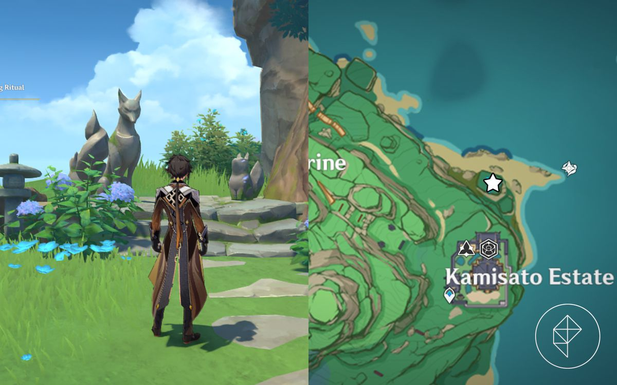 Zhongli stands in front of a fox shrine while a map showcases where to find the shrine north of the Kamisato Estate.