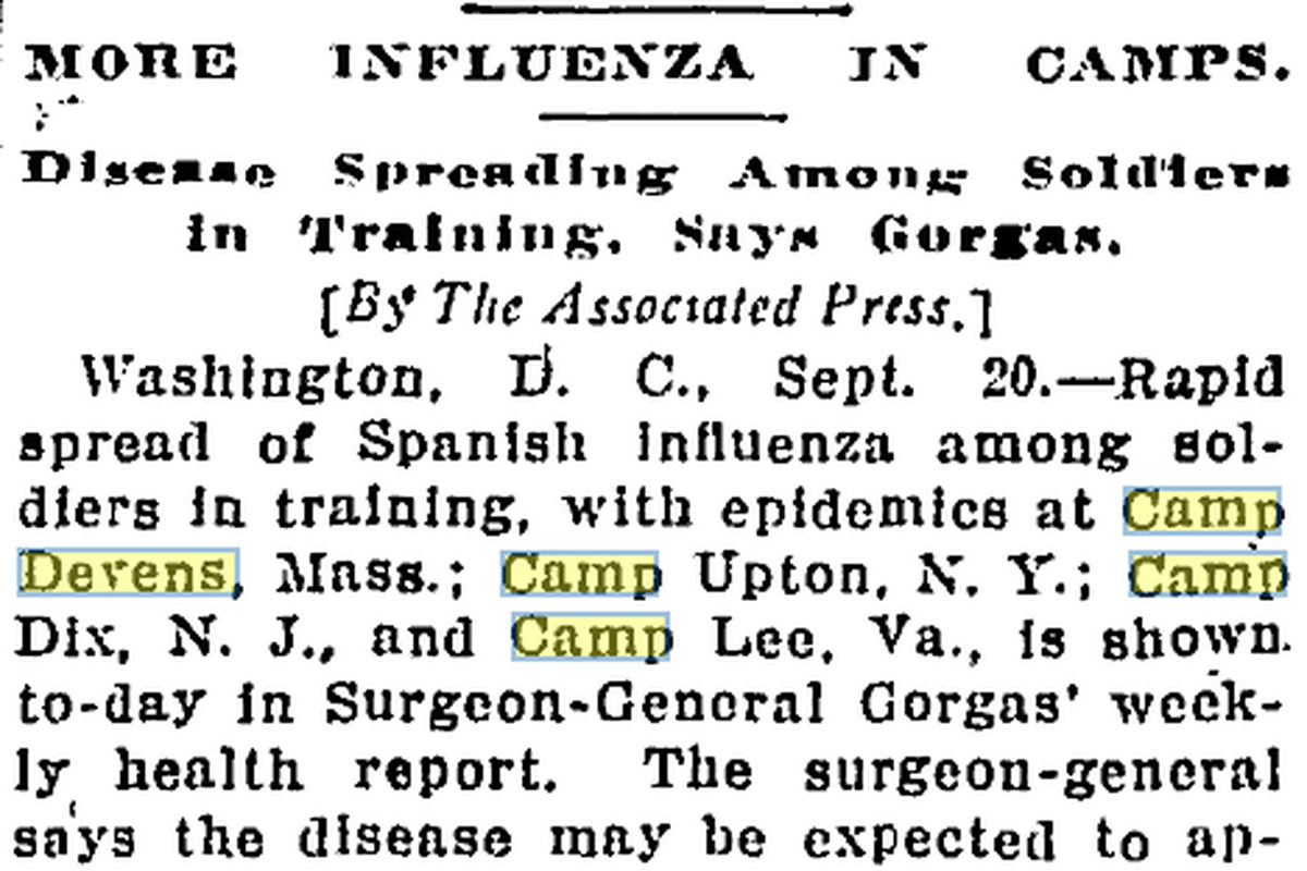 News article on the second wave of the influenza outbreak