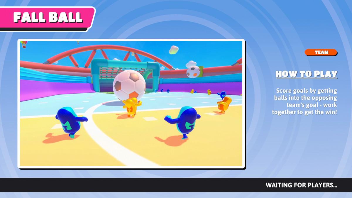 L'écran d'information Fall Ball dans Fall Guys.