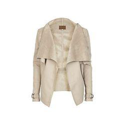 "<span class=""credit""><a href=""http://us.riverisland.com/women/coats--jackets/jackets/Beige-leather-look-waterfall-jacket-638649"">Beige Leather Waterfall Jacket</a>, $120</span> <br></br> <b><a href=""http://us.riverisland.com/"">River Island:</a></b> Not"