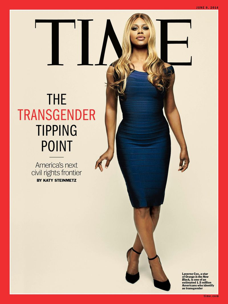"Laverne Cox on the cover of Time magazine with the headline ""The Transgender Tipping Point."""