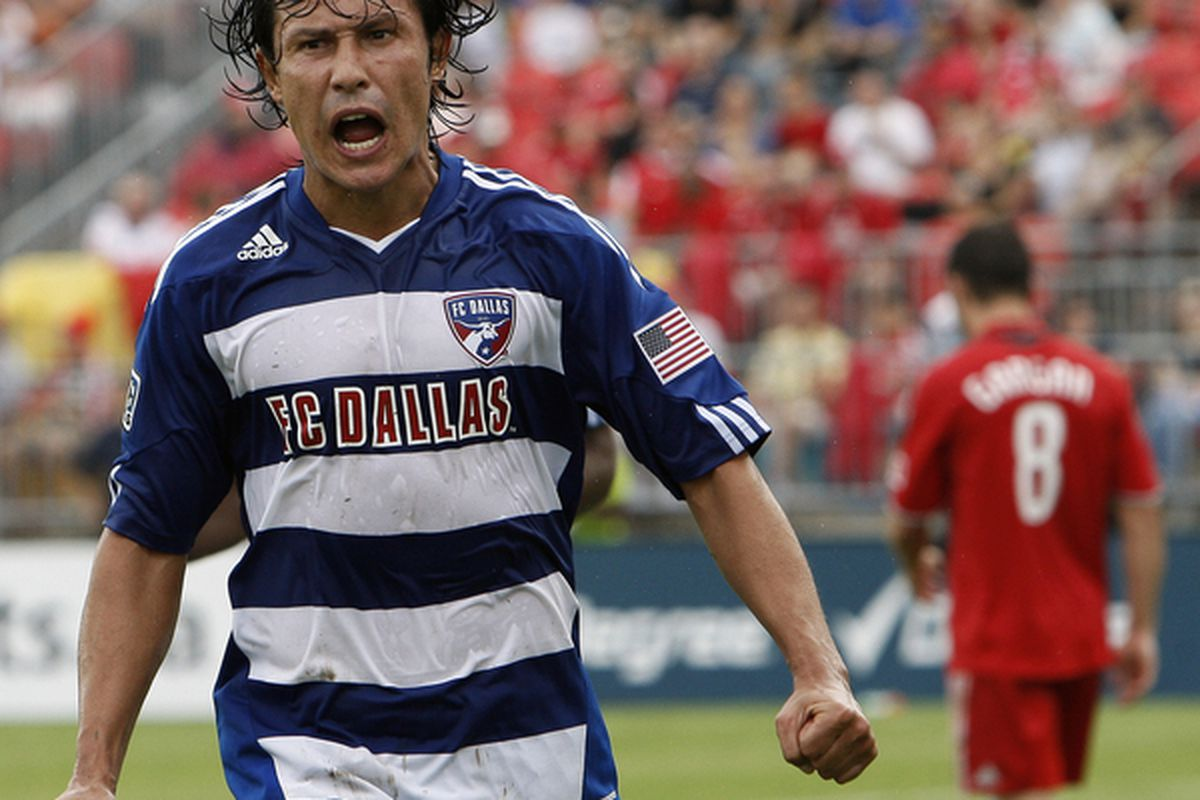 TORONTO - JULY 24: Milton Rodriguez #7 of FC Dallas celebrates late 2nd half goal against Toronto FC at BMO Field during a MLS game July 24 2010 in Toronto Ontario Canada. (Photo by Abelimages/Getty Images)