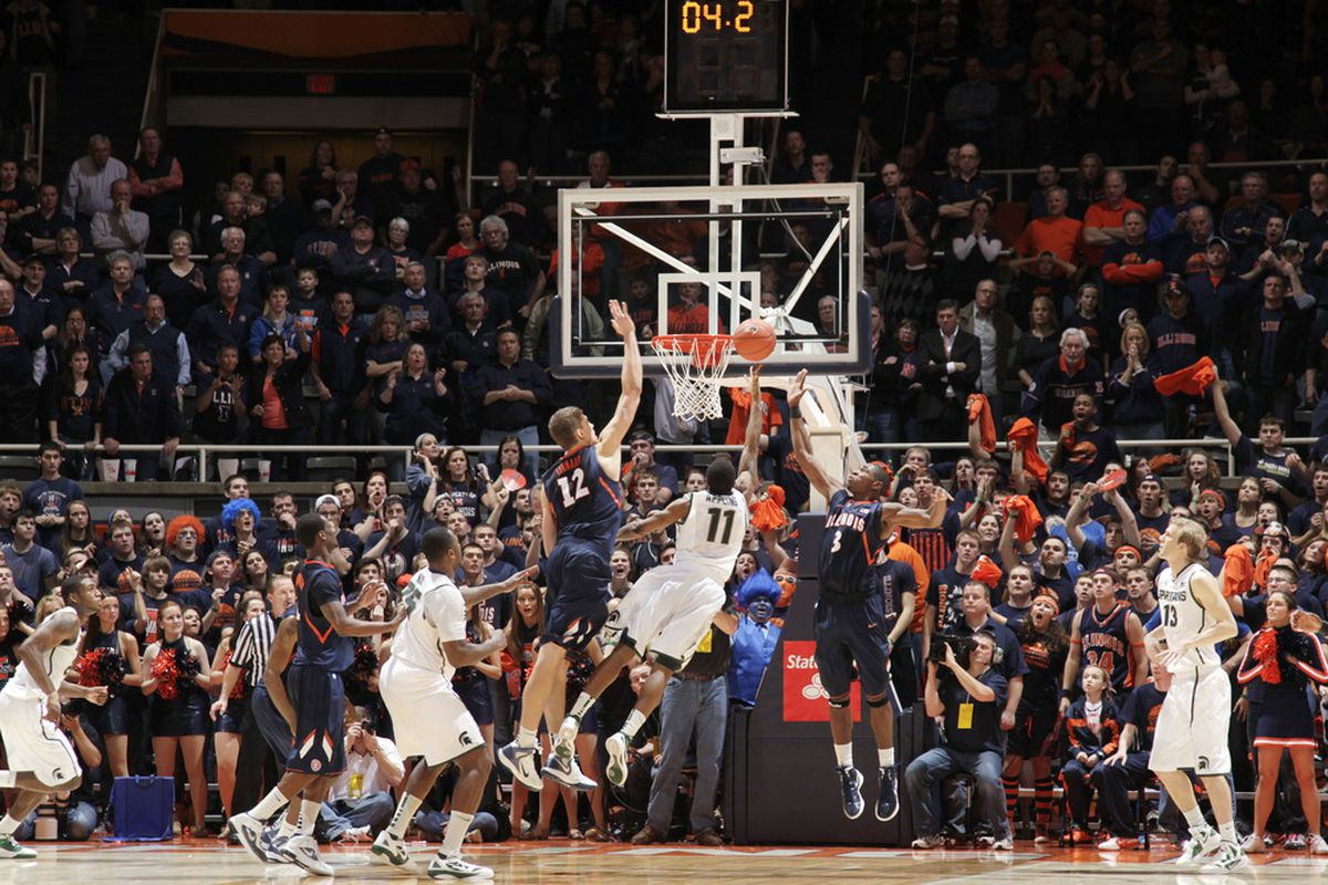 So close, but yet so far... Keith Appling misses a crucial shot for Michigan State, sealing a 42-41 loss to the Illinois Fighting Illini in Champaign-Urbana.