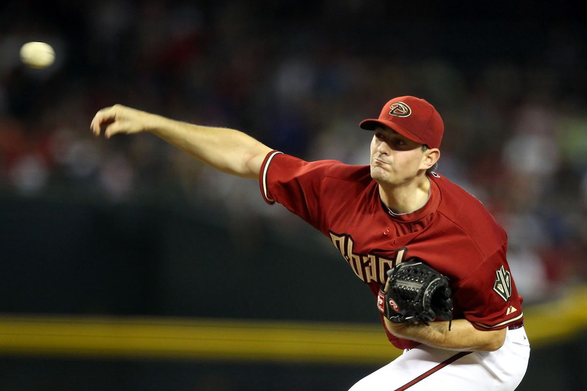 PHOENIX, AZ - MAY 27:  Starting pitcher Daniel Hudson #41 of the Arizona Diamondbacks pitches against the Milwaukee Brewers during the MLB game at Chase Field on May 27, 2012 in Phoenix, Arizona.  (Photo by Christian Petersen/Getty Images)