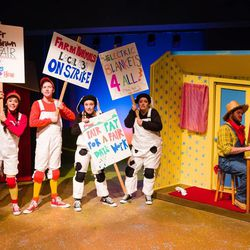 """Cast members Shelby Andersen (Cow 2), Kalyn West (Hen), Camille Van Wagoner (Cow 1), Austin Archer (Duck) and Randall Eames (Farmer Brown) perform in Salt Lake Acting Company's stage adaptation of """"Click, Clack, Moo: Cows That Type."""""""