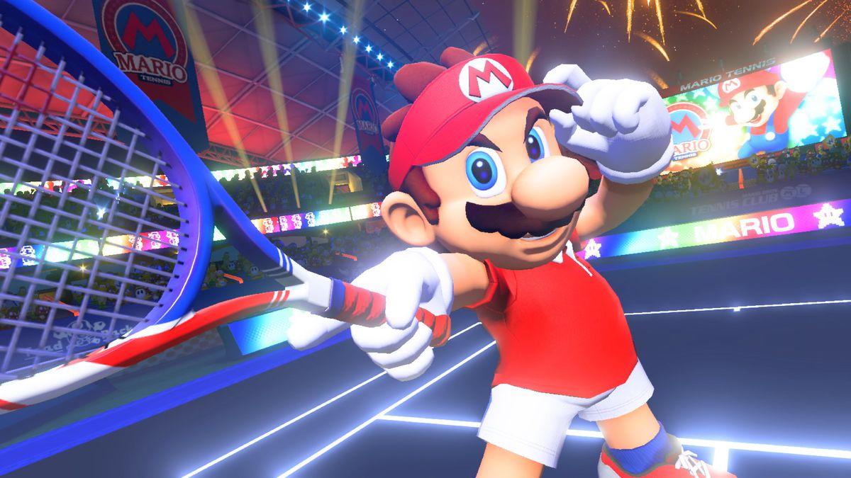 Mario Tennis Aces - Mario tipping his cap as he reaches out his racket