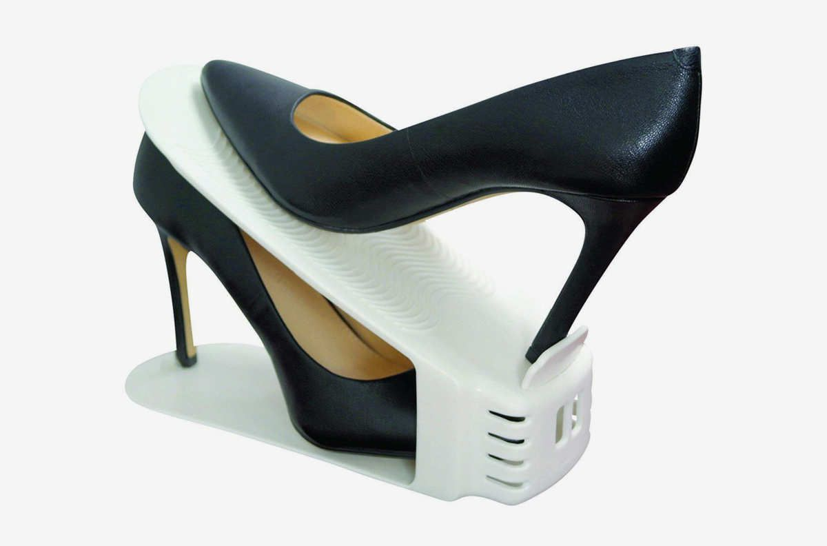 White object for stacking shoes.