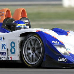 A driver competes in the American Le Mans Series race at Miller Motorsports Park May 19, 2007.