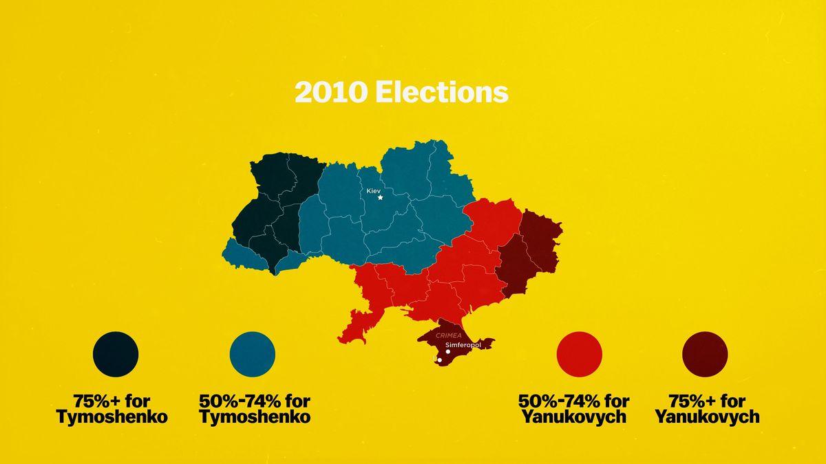 Ukraine map political divide