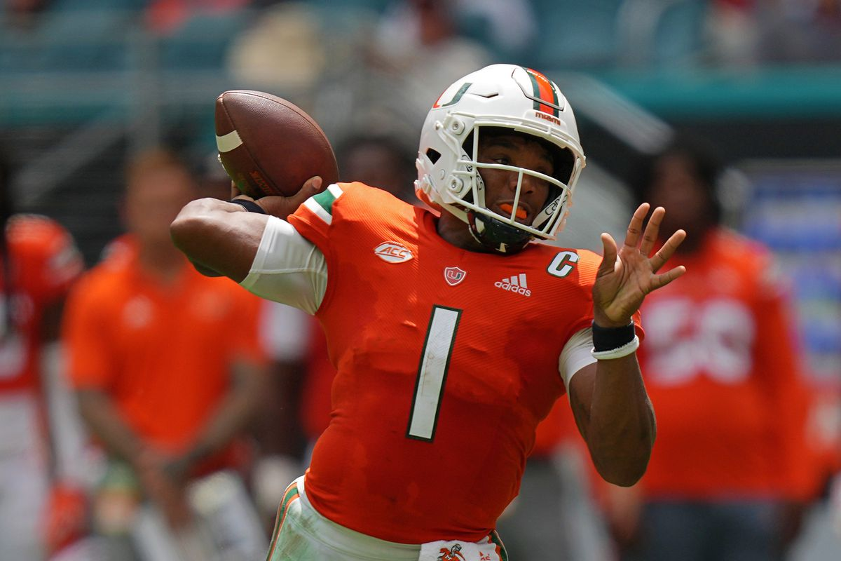 Miami Hurricanes quarterback D'Eriq King attempts a pass against the Michigan State Spartans during the first half at Hard Rock Stadium.