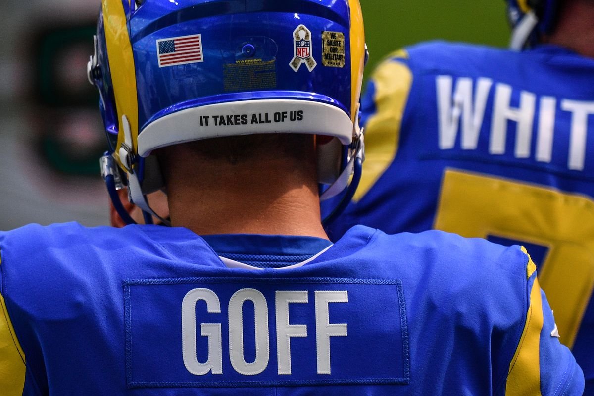 A detailed view of of the helmet worn by Jared Goff #16 of the Los Angeles Rams against the Miami Dolphins at Hard Rock Stadium on November 01, 2020 in Miami Gardens, Florida.