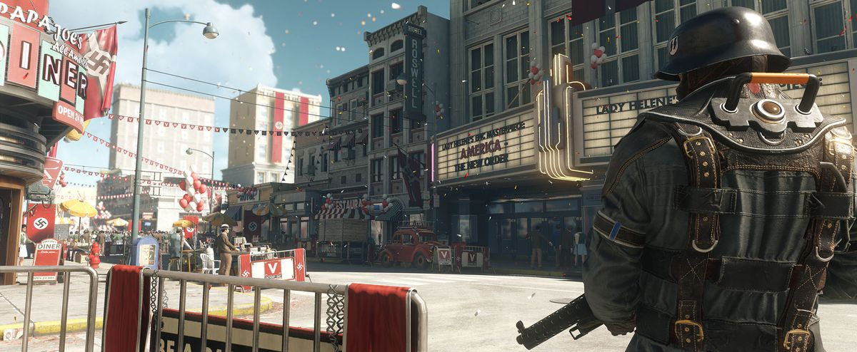 Wolfenstein 2: The New Colossus - confetti in the street in Roswell