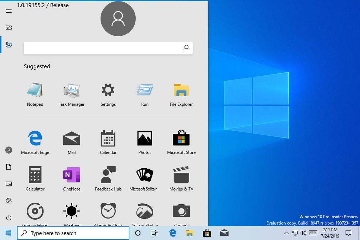10 >> Microsoft Reveals New Windows 10 Start Menu In Accidental