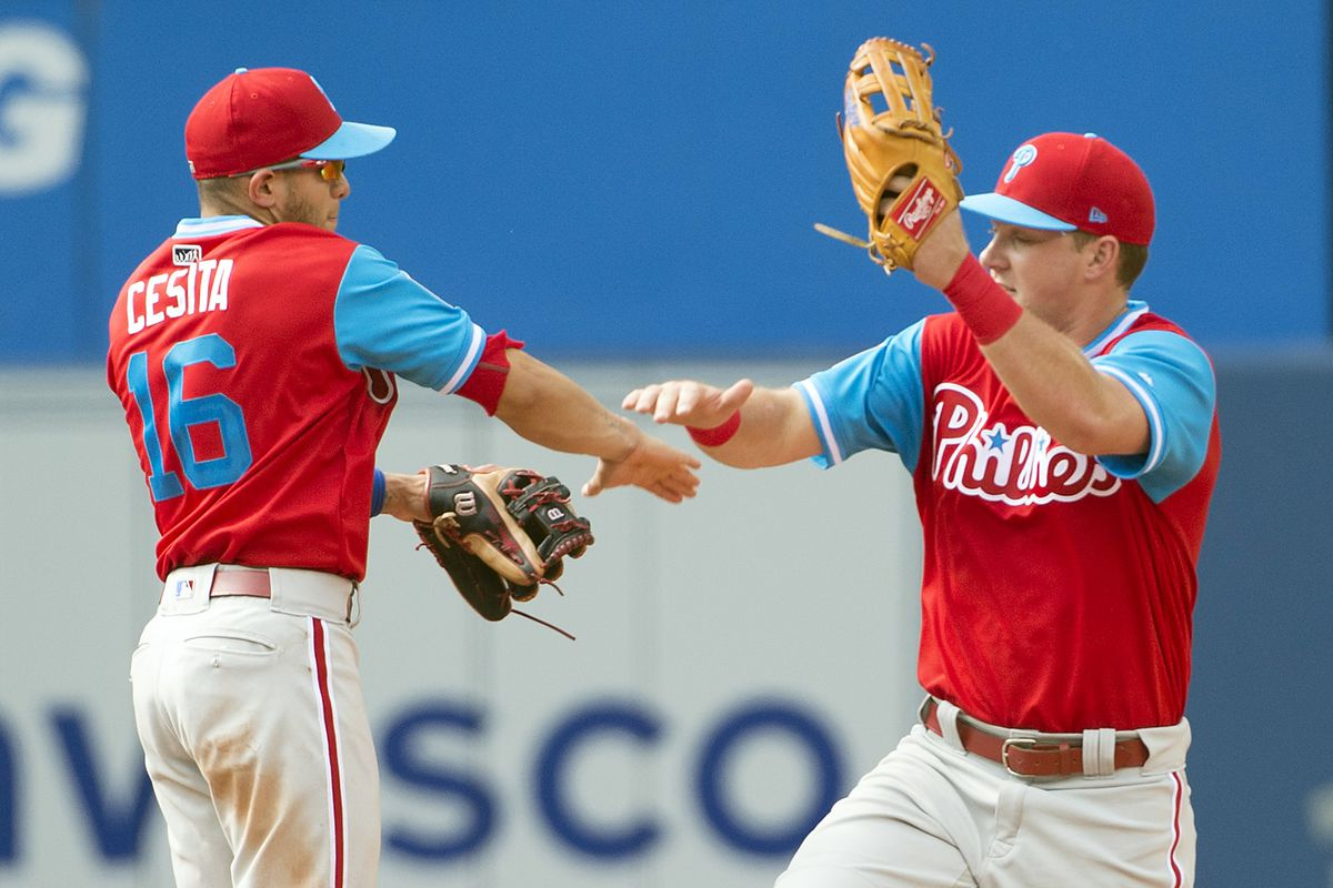 on sale 60f2a ba6d4 Phillies beat Blue Jays, finally win in cursed Players ...