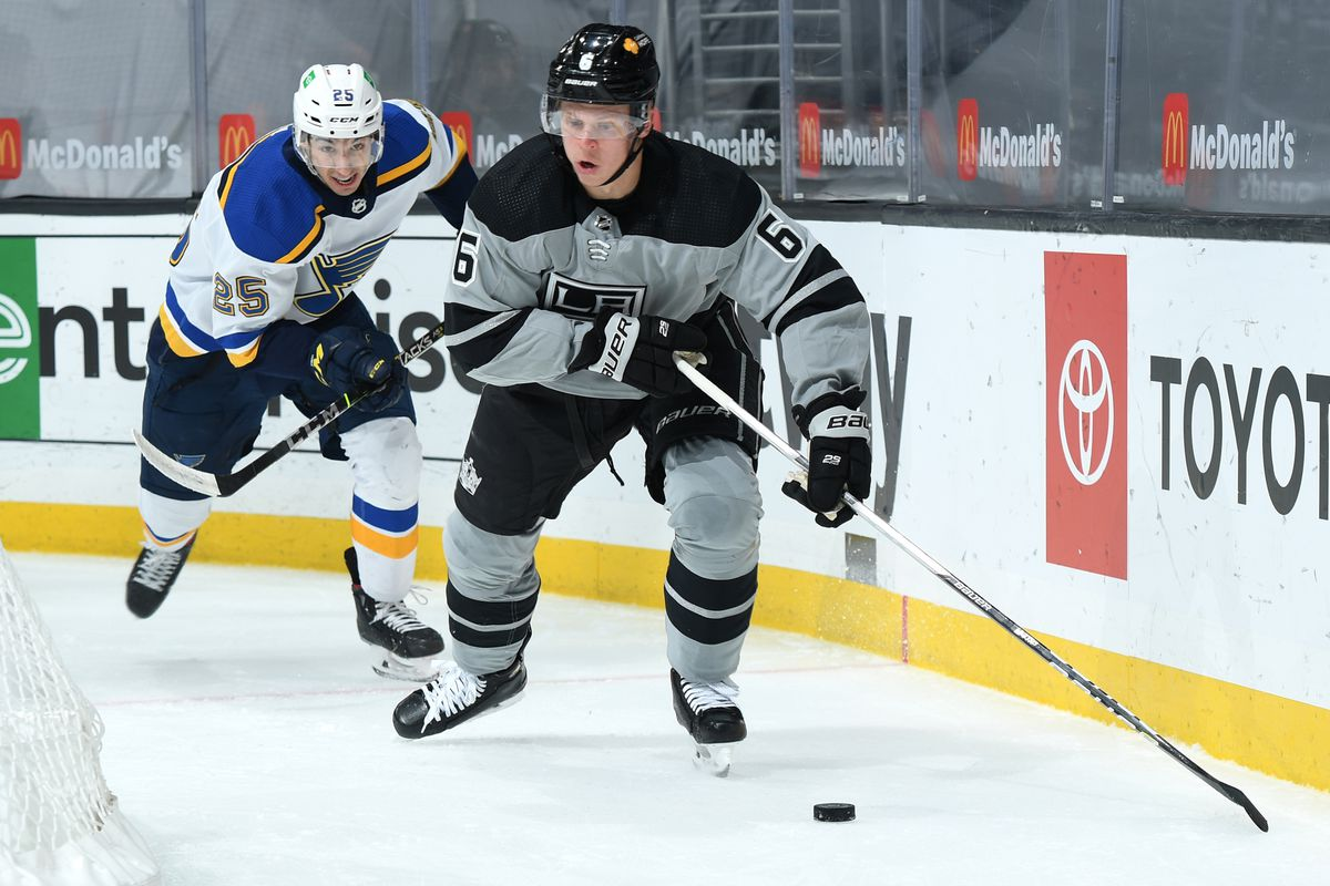 Olli Maatta #6 of the Los Angeles Kings skates with the puck during the first period against the St. Louis Blues at STAPLES Center on March 6, 2021 in Los Angeles, California.