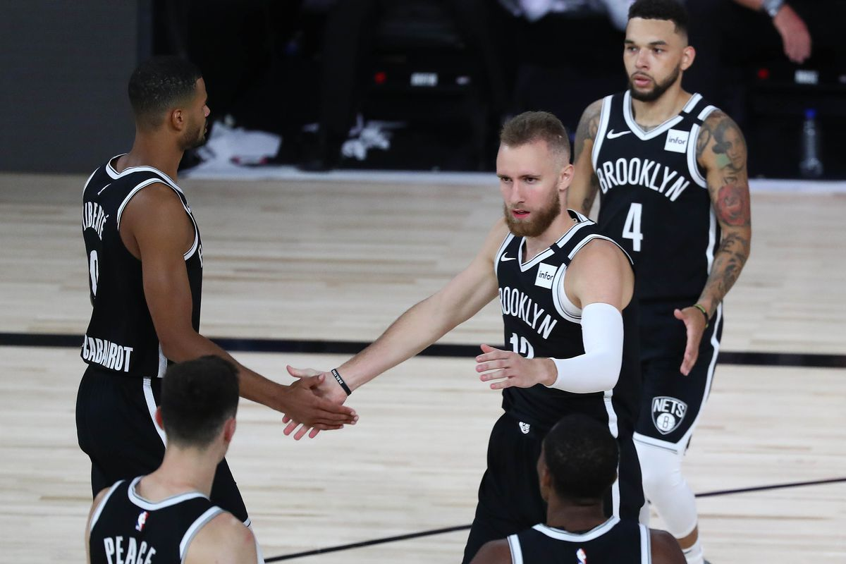 Brooklyn Nets guard Dzanan Musa (13) reacts after scoring a basket and drawing the foul against the Toronto Raptors during the second half in game four of the first round of an NBA game in the 2020 NBA Playoffs at The Field House.