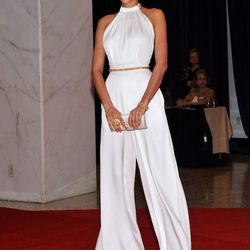 Irina Shayk takes a cue from Rose Byrne's Oscar look and rocks a white jumpsuit