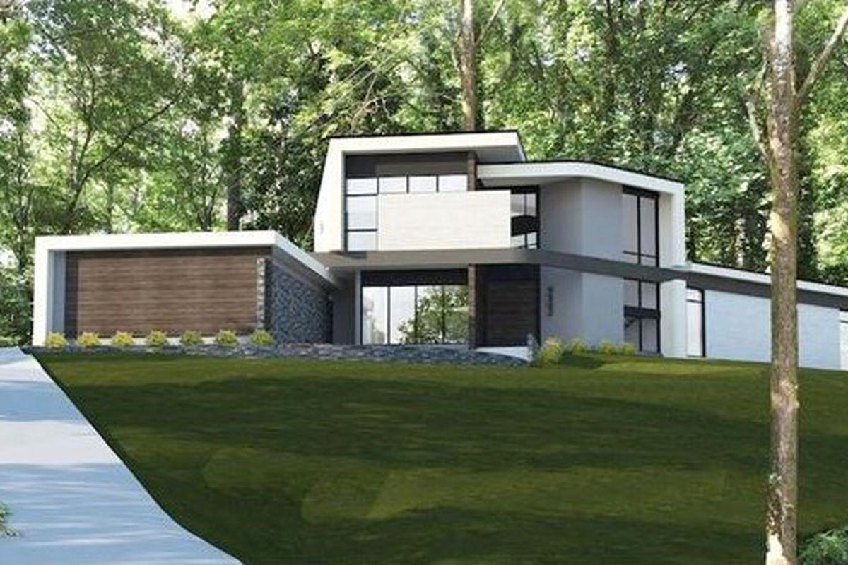 Rendering of modern Buckhead house.