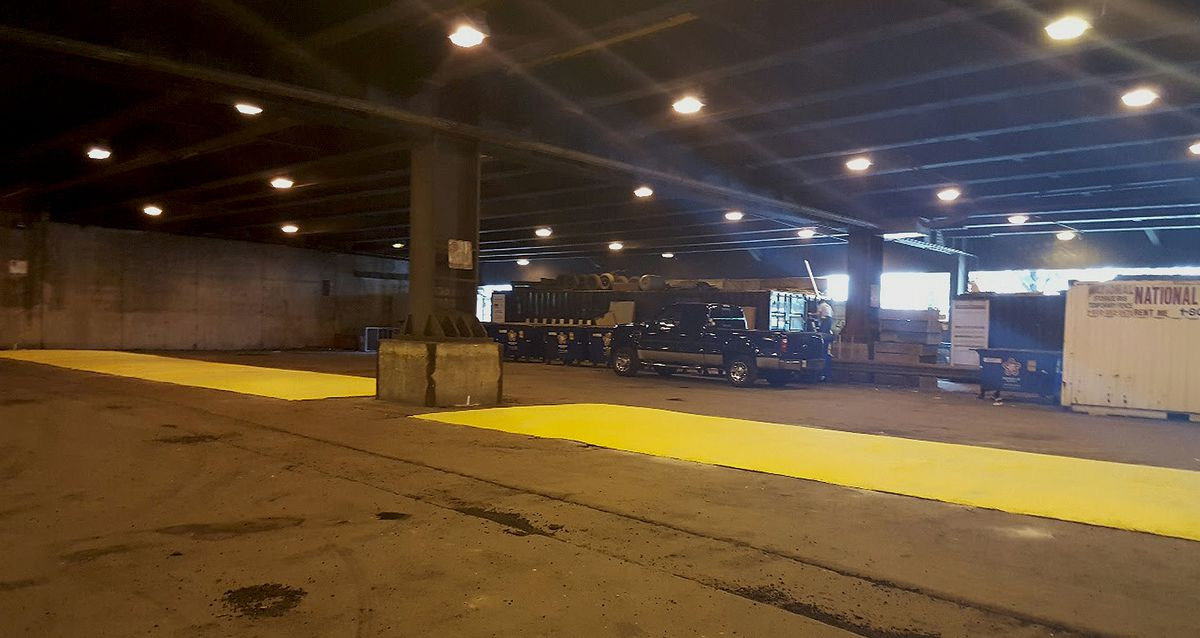 Speed humps were installed between the supports on Lower Lower Wacker Drive near the Hyatt Regency Chicago loading area.   Photo provided by Ald. Brendan Reilly