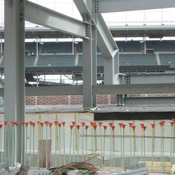This view shows where the upper deck first-base line ribbon board ends -