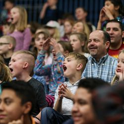 Fans cheer during the Salt Lake City Stars game against the Los Angeles D-Fenders at the Lifetime Activities Center in Taylorsville on Wednesday, Feb. 08, 2017.