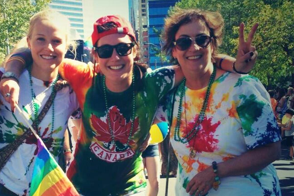 Anatasia Bucsis, center, at Calgary's pride parade
