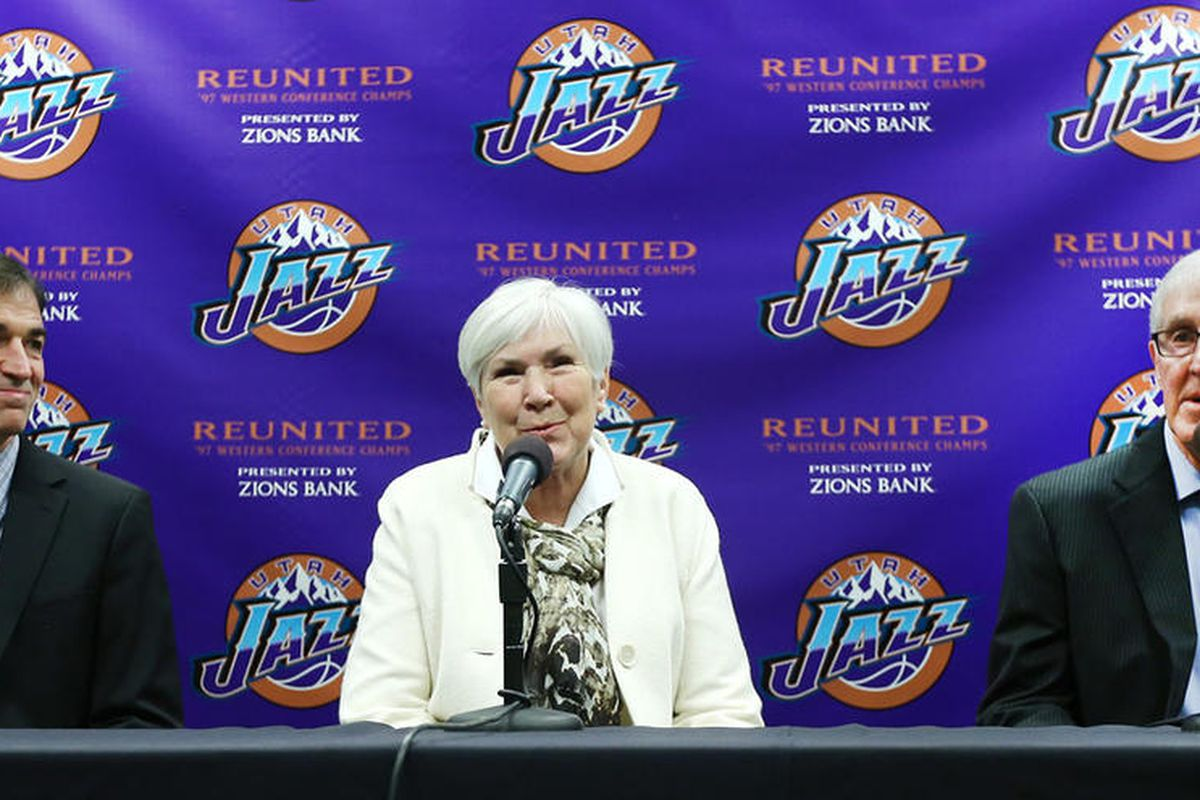 Former Utah Jazz great John Stockton, Jazz owner Gail Miller and Former Jazz Head Coach Jerry Sloan attend a press conference as the 1997 Western Conference Champions reunite on Wednesday, March 22, 2017.