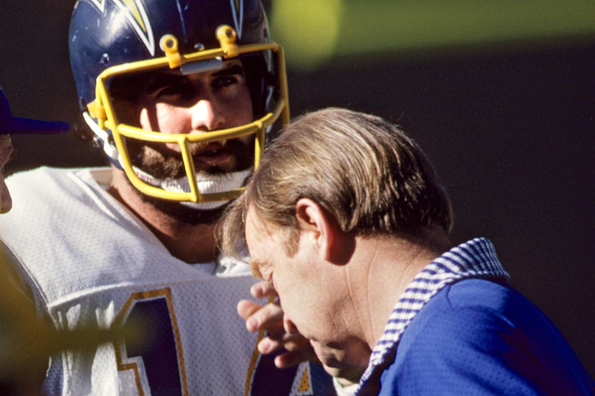 Dec 29, 1979; San Diego, CA, USA; FILE PHOTO; San Diego Chargers quarterback Dan Fouts (14) talks to Don Coryell on the sideline against the Houston Oilers during the 1979 AFC Divisional Playoff Game at Jack Murphy Stadium.
