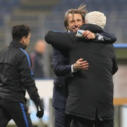 FC Internazionale coach Stefano Vecchi celebrate a victory at the end of the the Primavera SuperCup match between FC Internazionale U19 and AS Roma U19 at Stadio Giuseppe Meazza on January 7, 2018 in Milan, Italy.