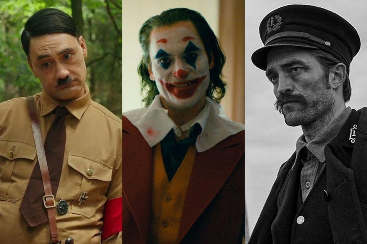 Taika Waititi in Jojo Rabbit, Joaquin Phoenix in Joker, and Robert Pattinson in The Lighthouse.