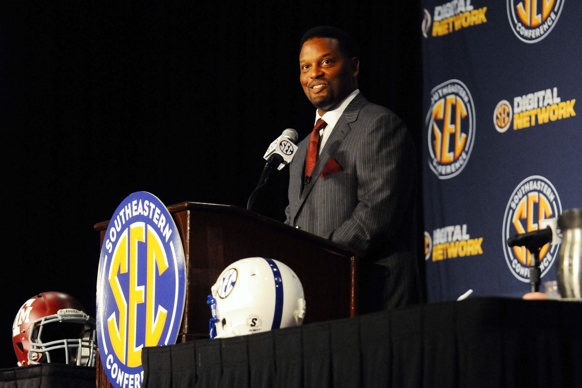 July 17, 2012; Hoover, AL, USA;  Texas A&M Aggies coach Kevin Sumlin speaks during the 2012 SEC media days event at the Wynfrey Hotel.