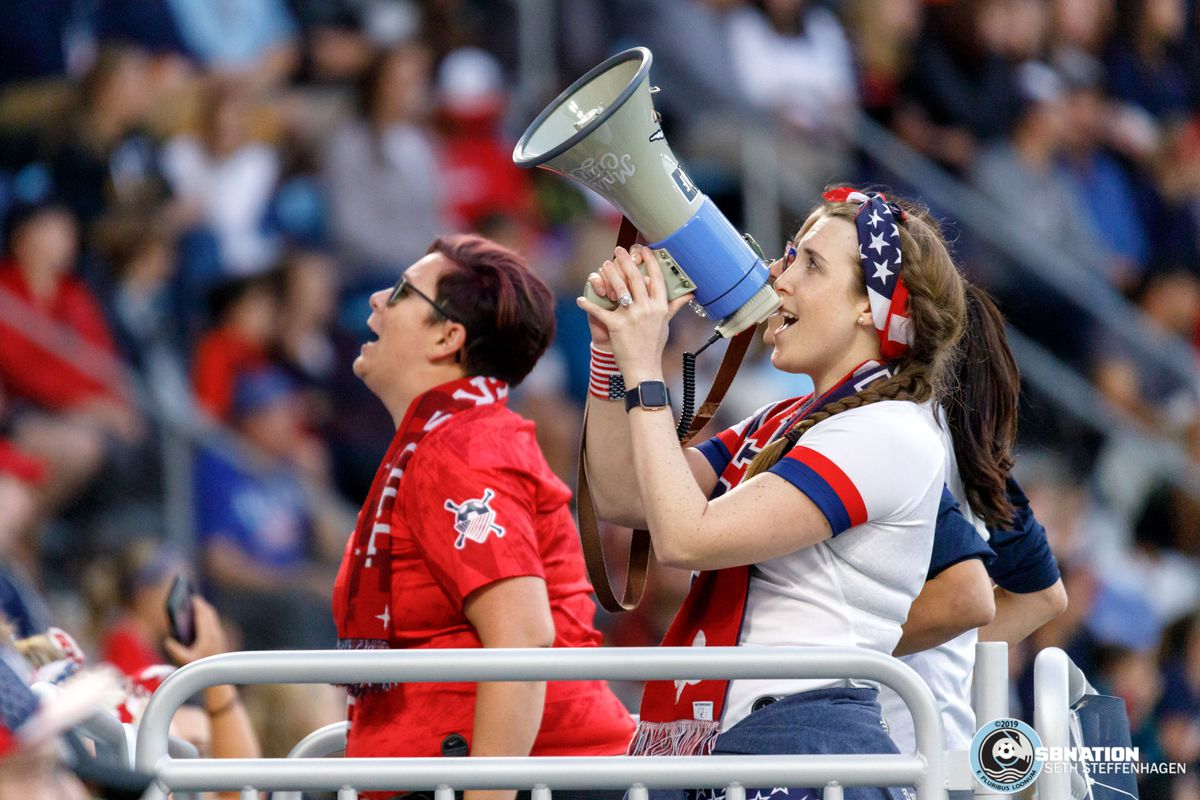 September 3, 2019 - Saint Paul, Minnesota, United States - American Outlaw capos lead the supporters in song during the USA World Cup Victory Tour  match against Portugal at Allianz Field.