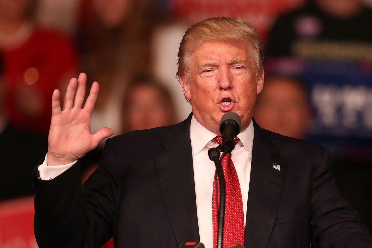 Republican presidential candidate Donald Trump speaks during a campaign rally.