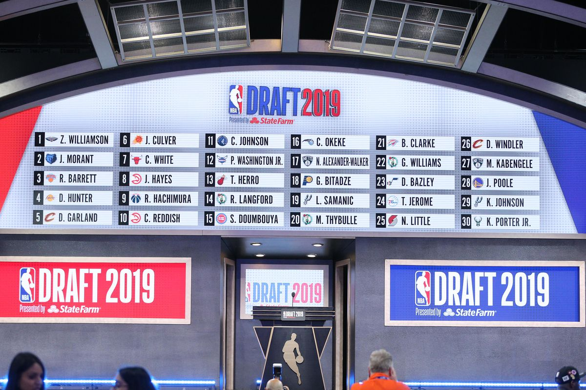 A general view of the draft board following the first round of the 2019 NBA Draft at Barclays Center.