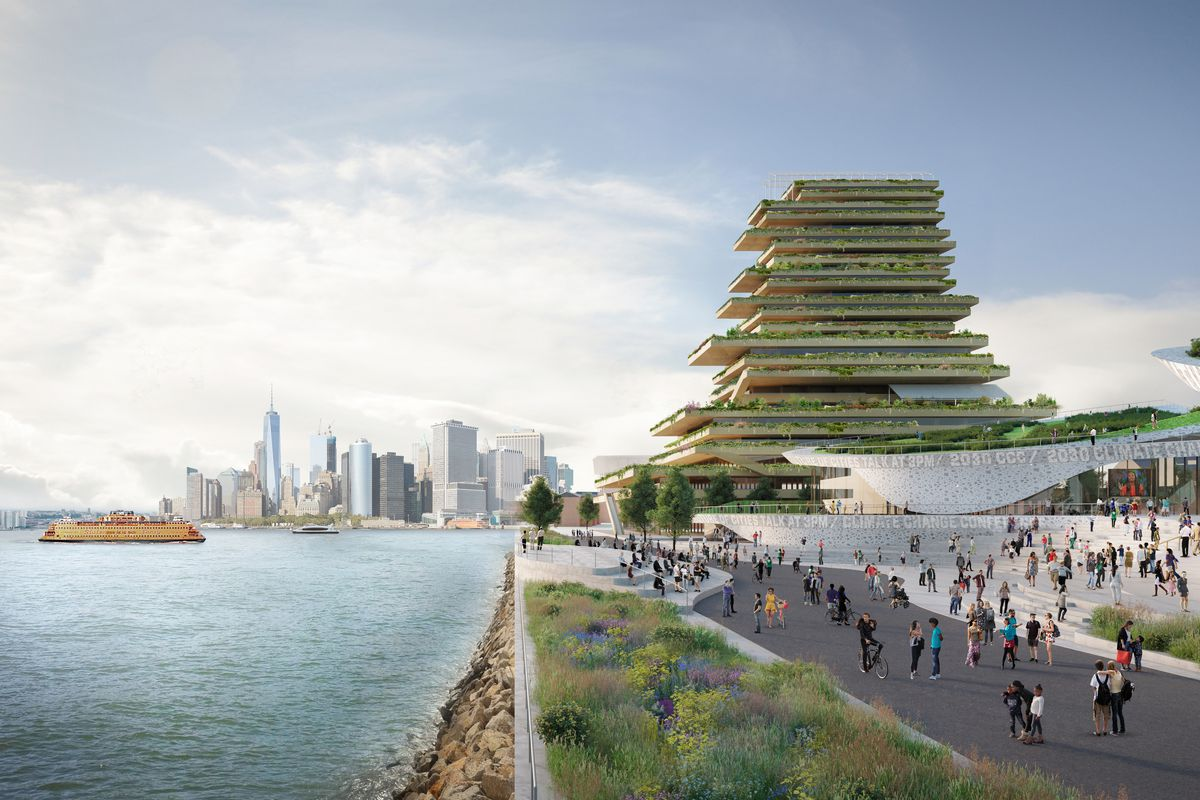 This rendering shows the Trust for Governors Island's vision for a potential climate change research hub that could be as high as 30 stories.