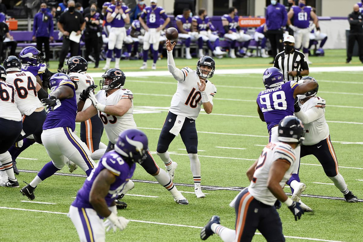 Bears quarterback Mitch Trubisky (10) completed 15-of-21 passes for 202 yards, one touchdown and one interception for a 97.7 passer rating — and added 34 rushing yards on eight carries — in a 33-27 victory over the Vikings on Sunday at U.S. Bank Stadium.