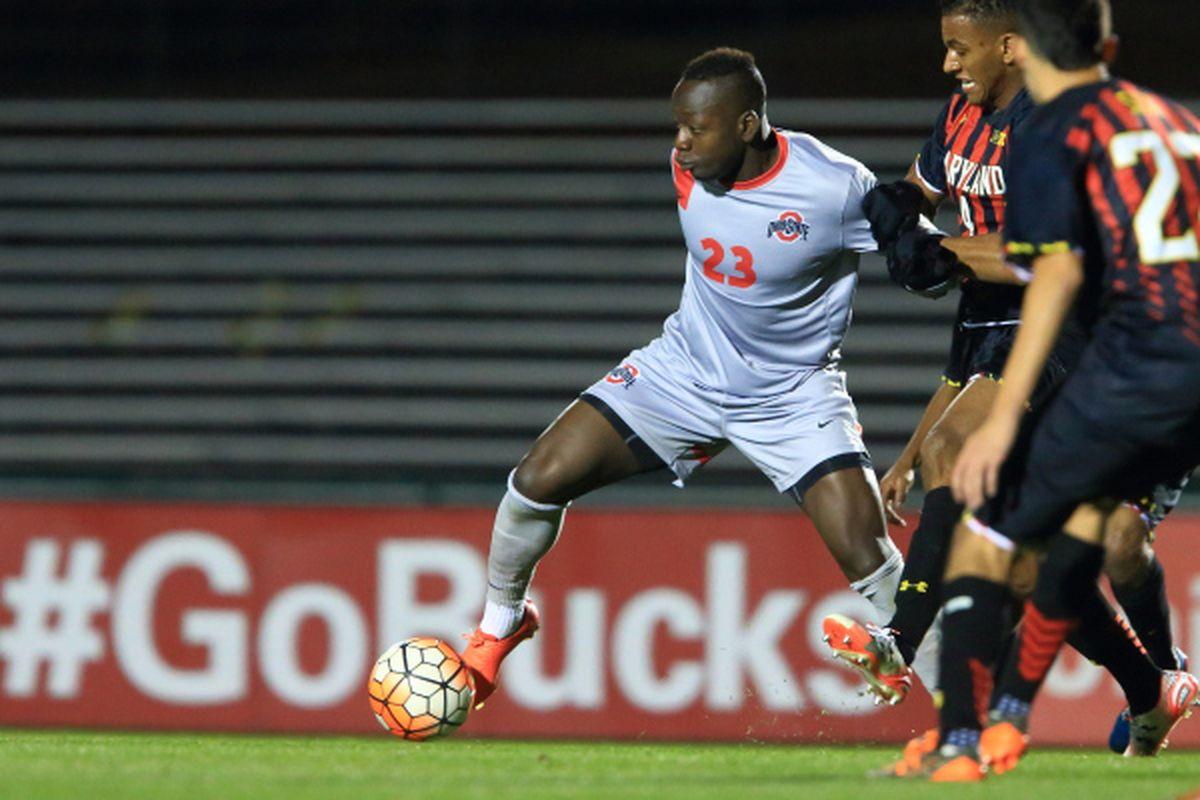 Ohio State forward Yaw Amankwa fights off a Maryland defender Saturday.