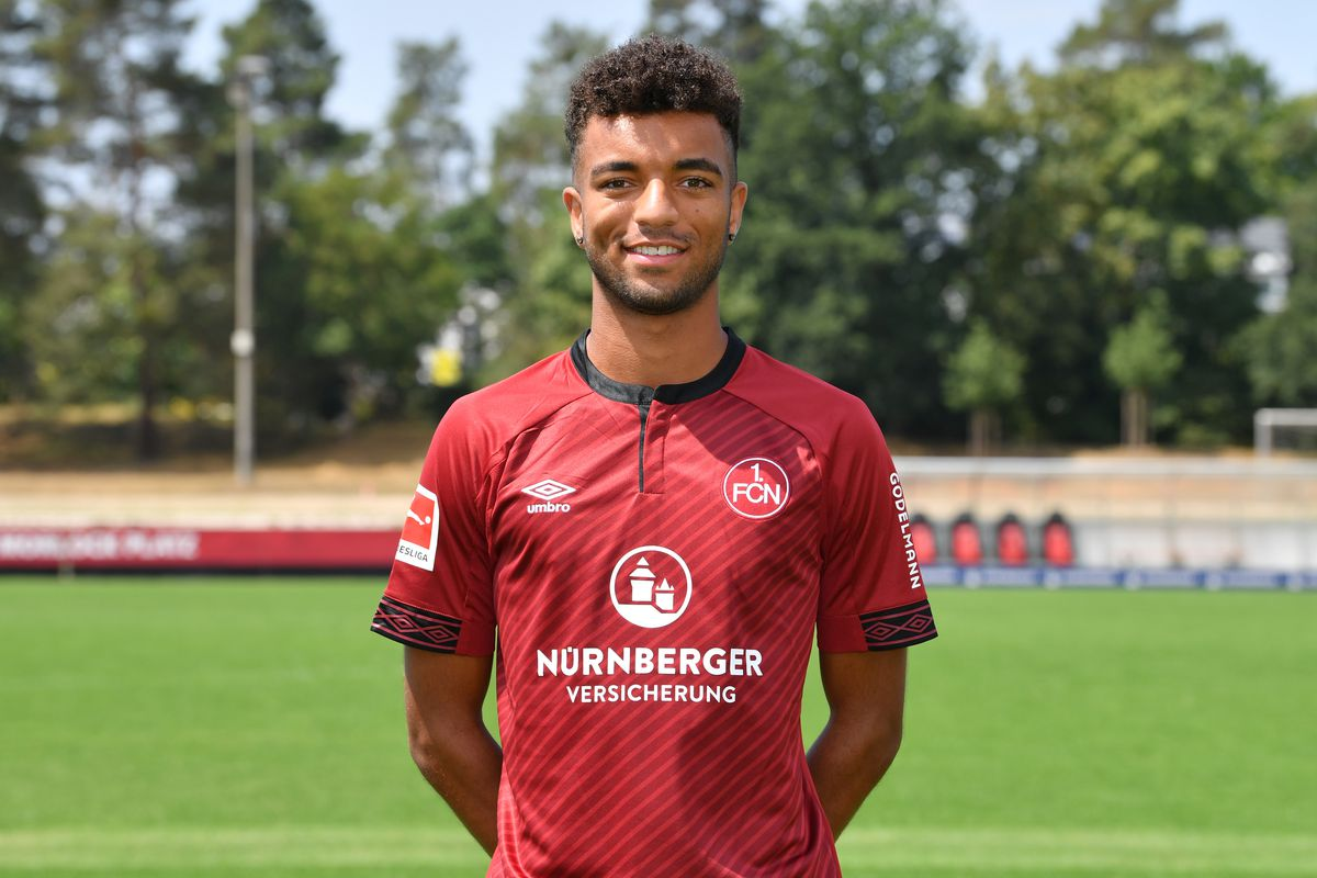 NUREMBERG, GERMANY - JULY 16: Timothy Tillman of 1. FC Nuernberg poses during the team presentation at Sportpark Valznerweiher on July 16, 2018 in Nuremberg, Germany.