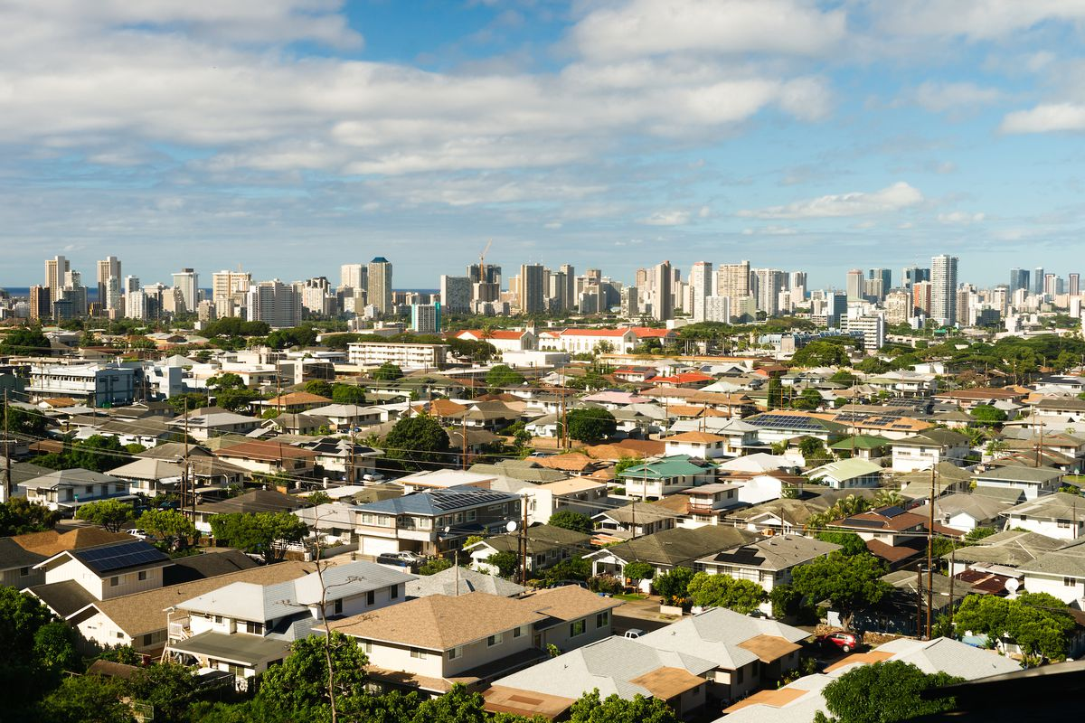 Aerial view over Honolulu