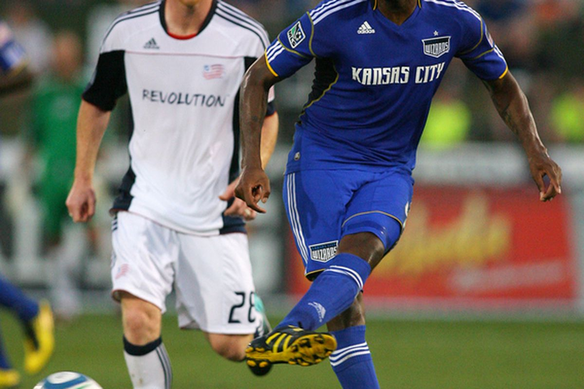 KANSAS CITY KS - AUGUST 21:  Shavar Thomas #6 of the Kansas City Wizards kicks the ball in a match against the New England Revolution at Community America Ballpark on August 21 2010 in Kansas City Kansas.  (Photo by Tim Umphrey/Getty Images)