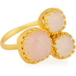 "<a href=""http://www.theoutnet.com/product/257506""><b>Kevia</b> 22-karat gold-vermeil and rose quartz cluster ring</a>, $76 (was $190)"
