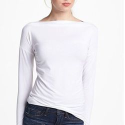 """""""This fitted knit tee is graceful and flattering. It's also  hand-washable, which makes it a travelers' wardrobe essential."""" Vince boatneck tee, $110, Nordstrom."""