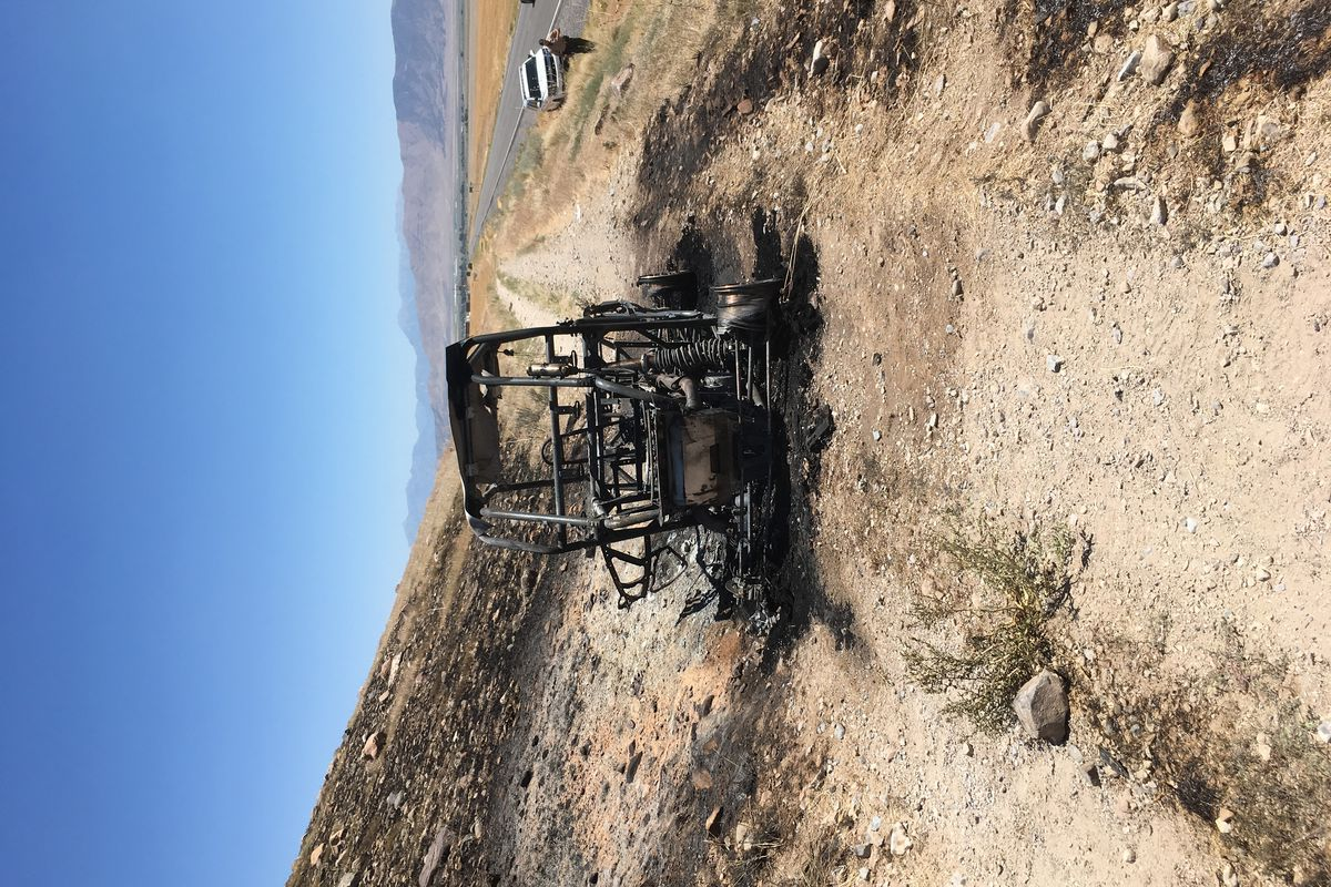 A man and woman were taken to a hospital Wednesday afternoon with third-degree burns after the off-road vehicle they were riding caught fire near Five Mile Pass on July 4, 2018.